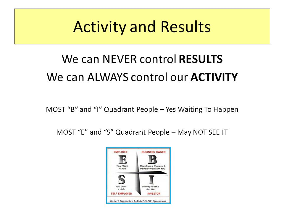 Activity and Results We can NEVER control RESULTS