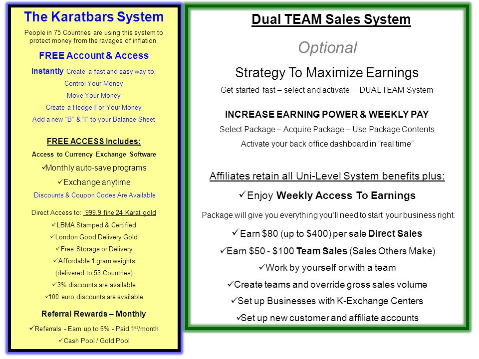 Dual TEAM Sales System Optional The Karatbars System