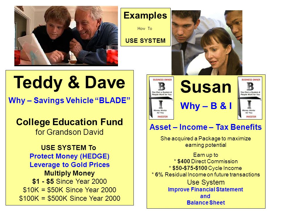 Teddy & Dave Susan Examples Why – B & I College Education Fund