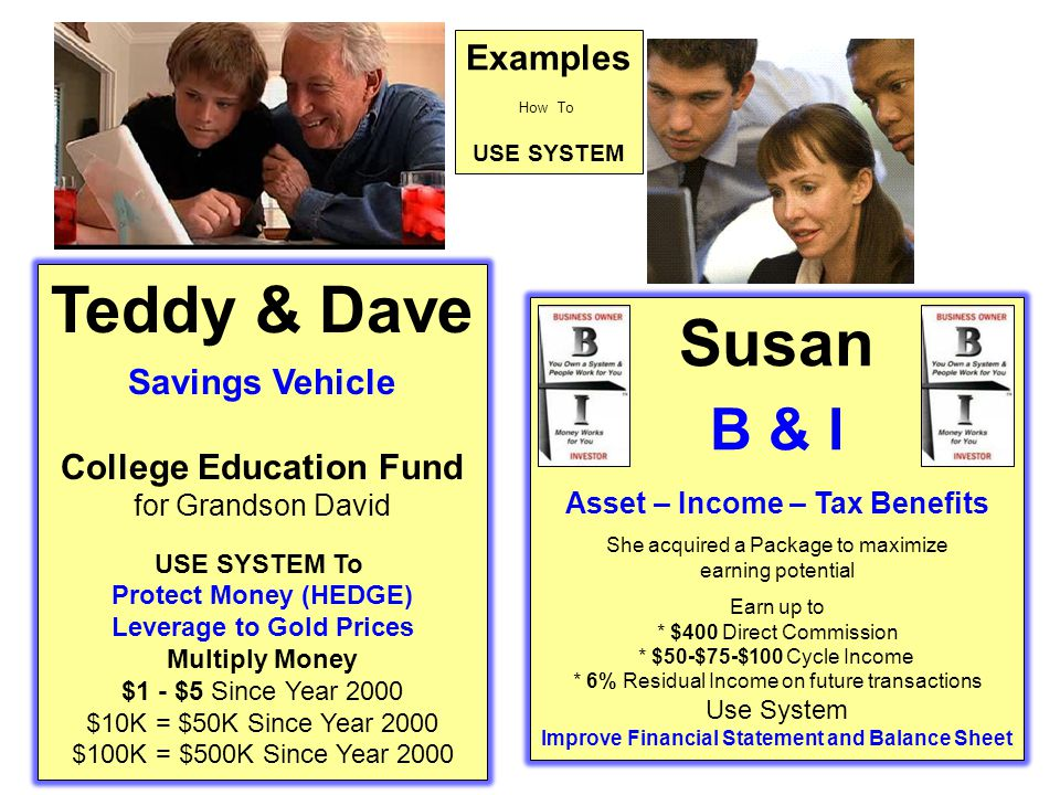 Teddy & Dave Susan B & I Examples Savings Vehicle