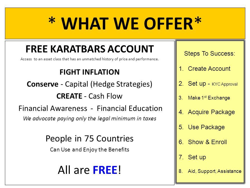 FREE KARATBARS ACCOUNT