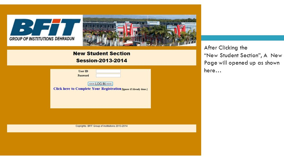 After Clicking the New Student Section , A New Page will opened up as shown here…