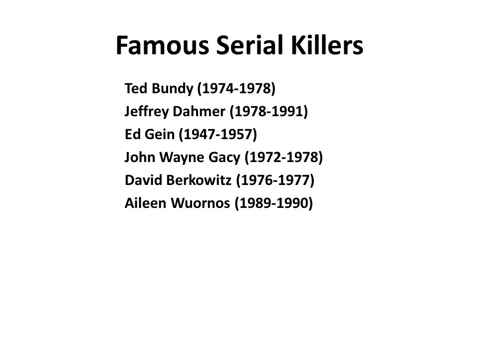 Famous Serial Killers