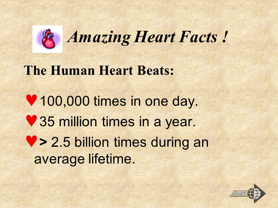 Amazing Heart Facts ! The Human Heart Beats: 100,000 times in one day.