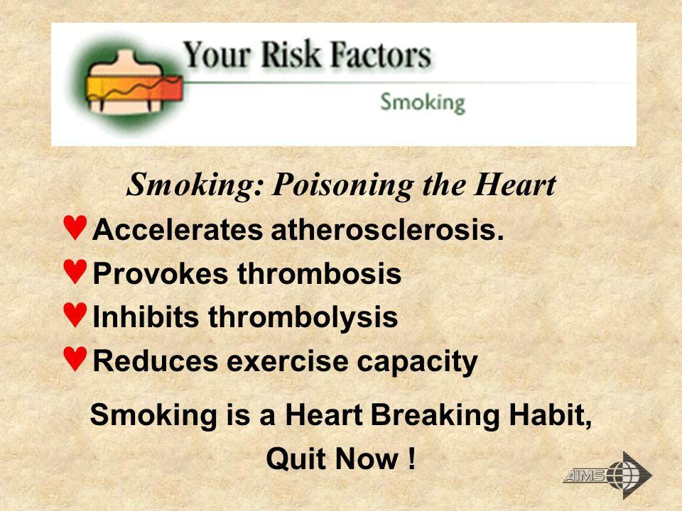 Smoking: Poisoning the Heart Smoking is a Heart Breaking Habit,