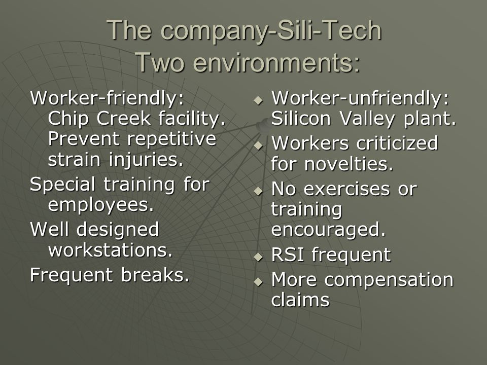 The company-Sili-Tech Two environments: