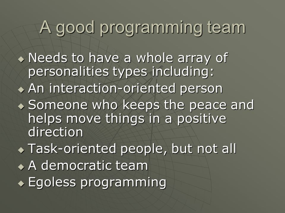 A good programming team