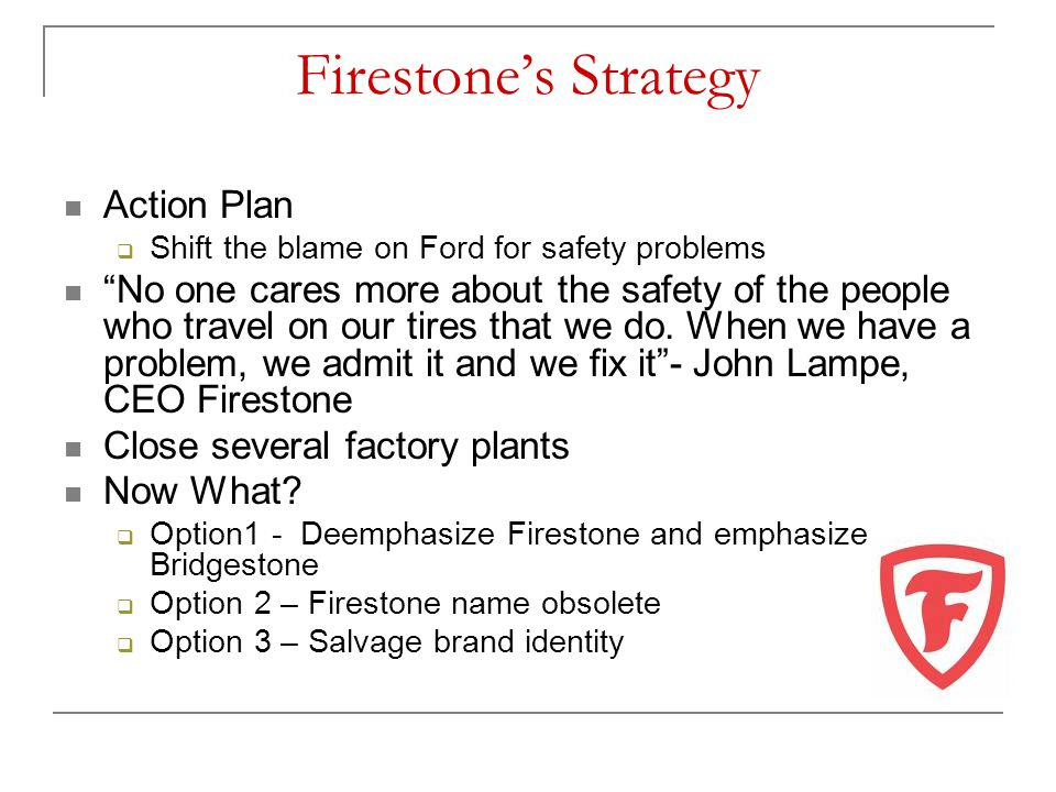 Firestone's Strategy Action Plan