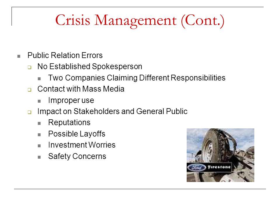 Crisis Management (Cont.)