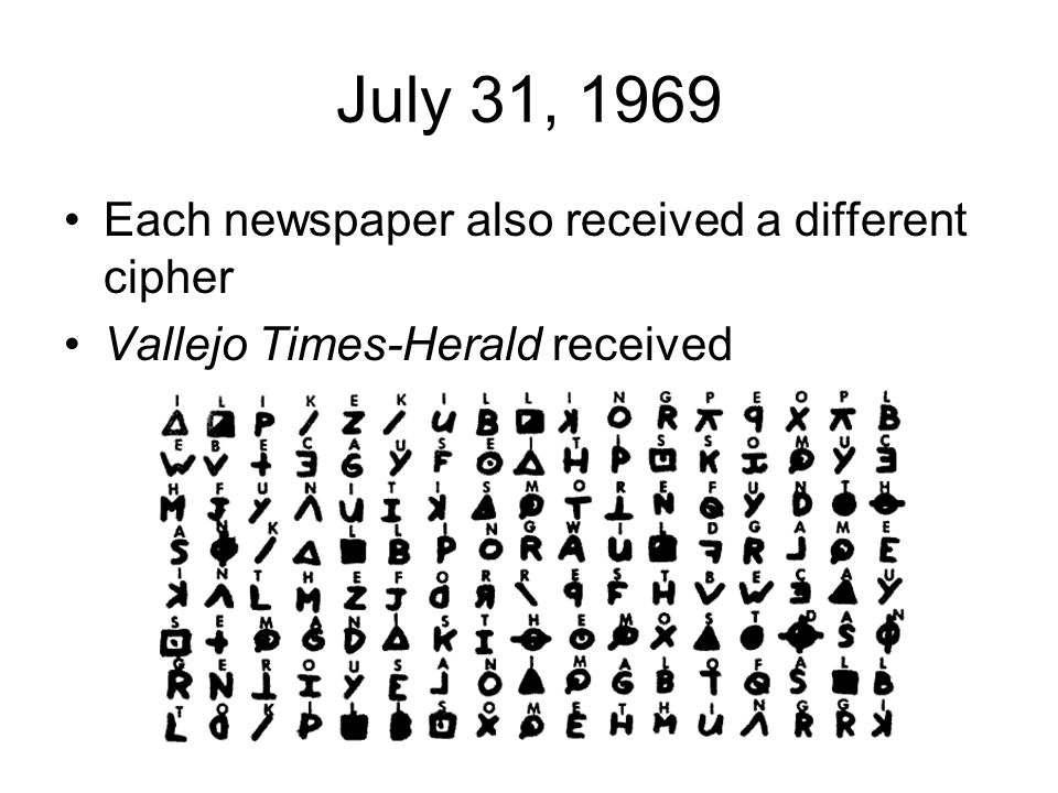 July 31, 1969 Each newspaper also received a different cipher