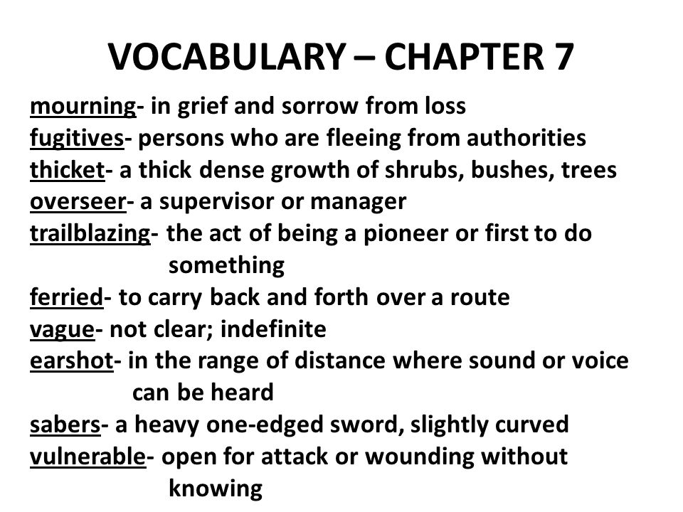 VOCABULARY – CHAPTER 7 mourning- in grief and sorrow from loss