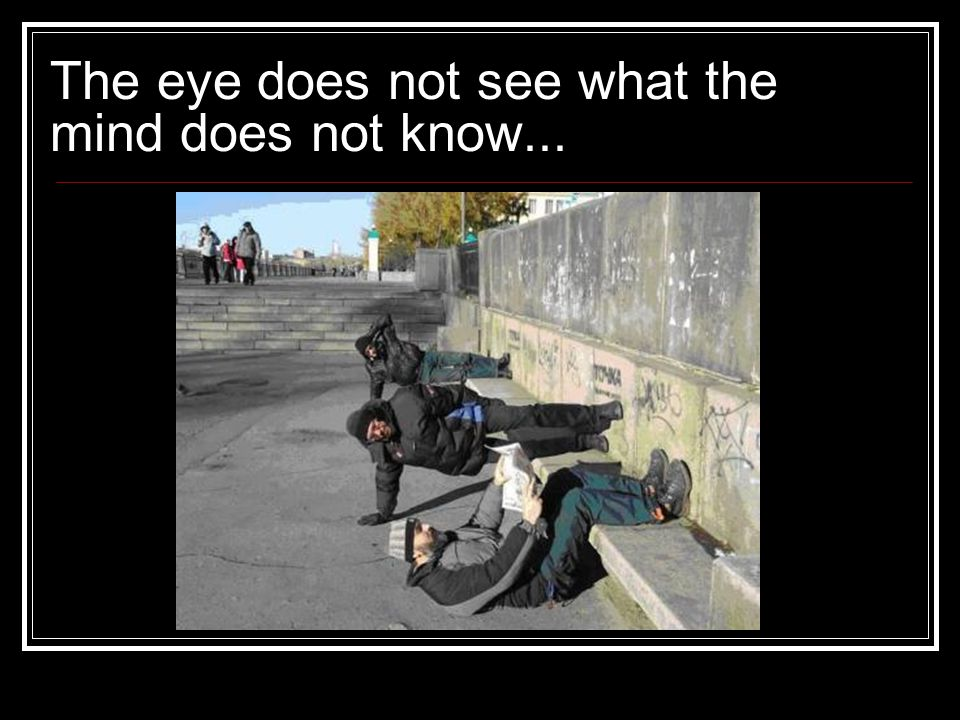 The eye does not see what the mind does not know...