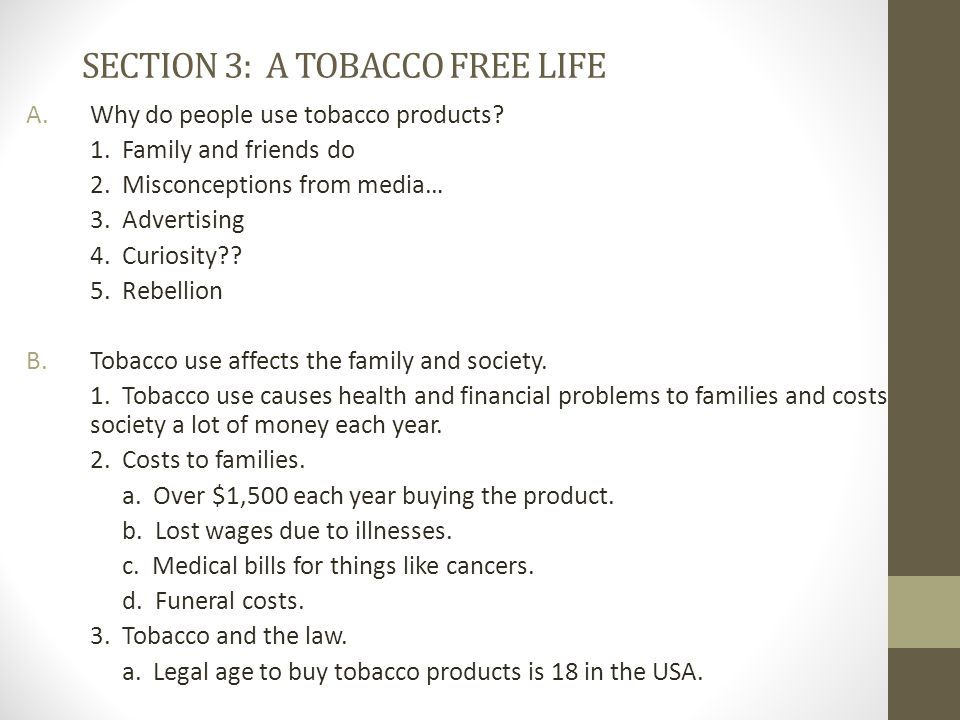 SECTION 3: A TOBACCO FREE LIFE