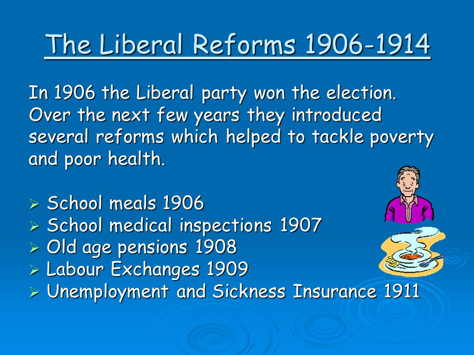 The Liberal Reforms 1906-1914 In 1906 the Liberal party won the election. Over the next few years they introduced.