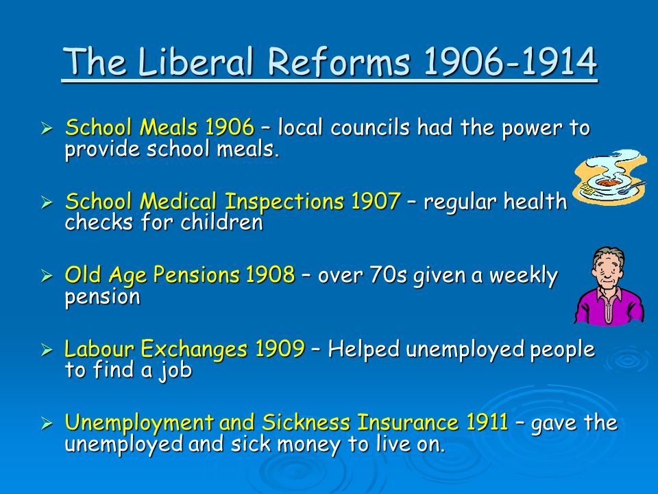 The Liberal Reforms 1906-1914 School Meals 1906 – local councils had the power to provide school meals.