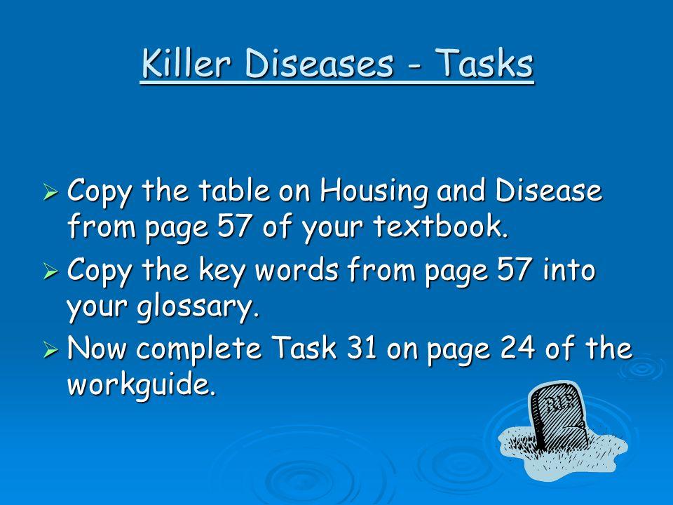 Killer Diseases - Tasks