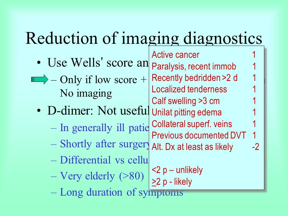 Reduction of imaging diagnostics