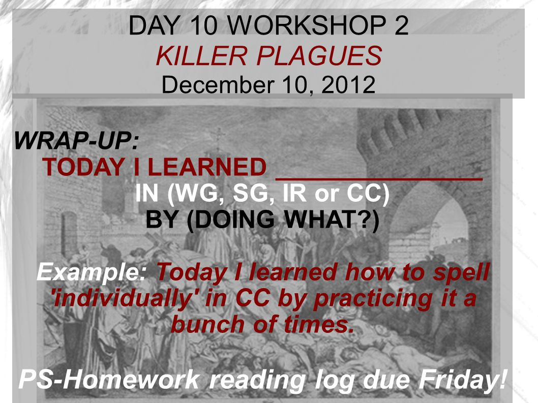 TODAY I LEARNED _______________ PS-Homework reading log due Friday!