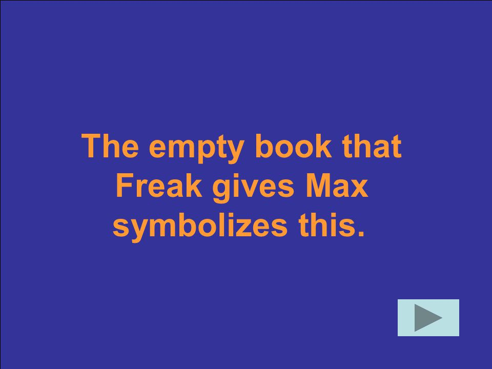 The empty book that Freak gives Max symbolizes this.