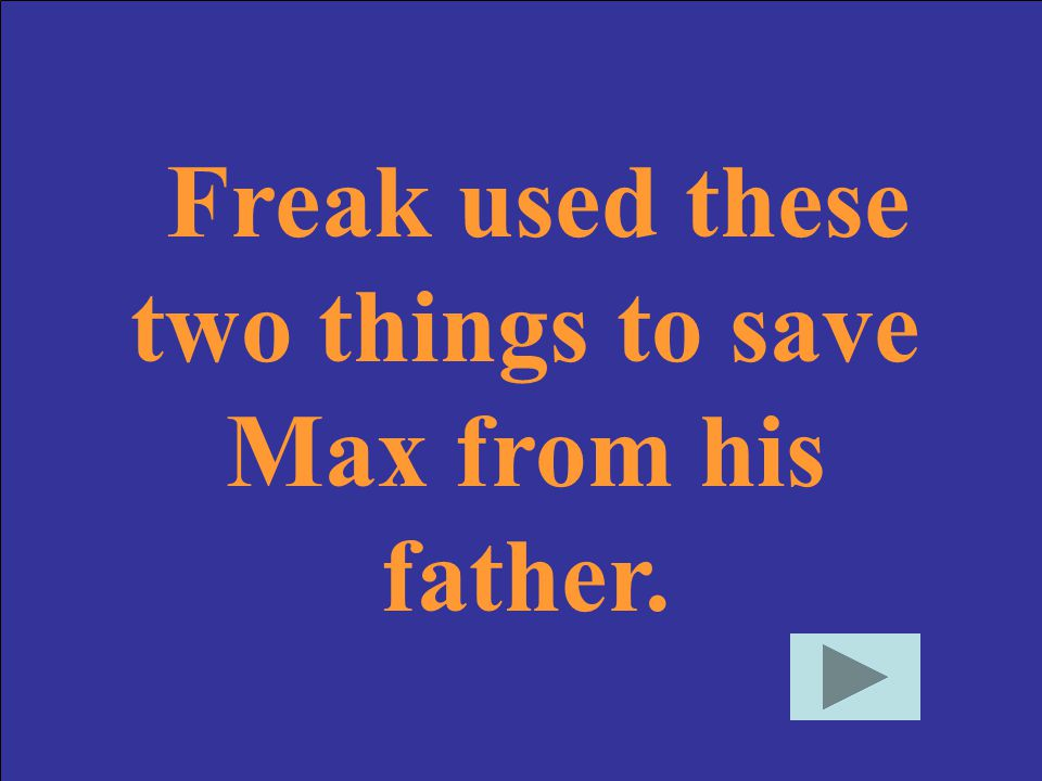 Freak used these two things to save Max from his father.