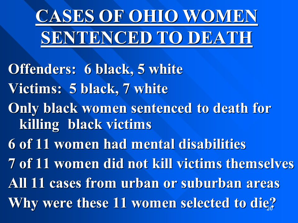 CASES OF OHIO WOMEN SENTENCED TO DEATH