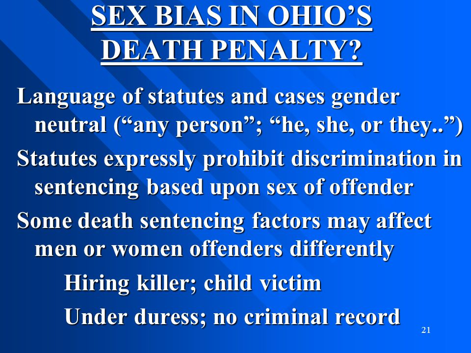 SEX BIAS IN OHIO'S DEATH PENALTY