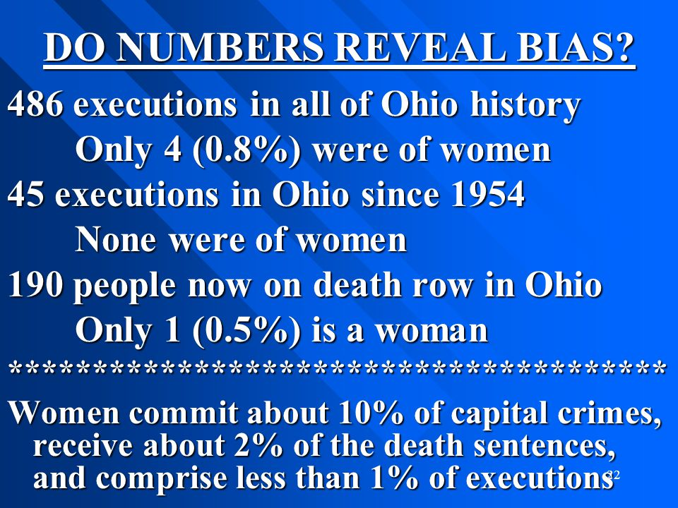 DO NUMBERS REVEAL BIAS 486 executions in all of Ohio history