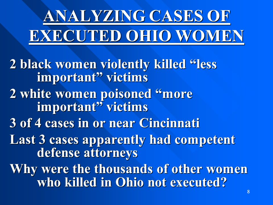 ANALYZING CASES OF EXECUTED OHIO WOMEN