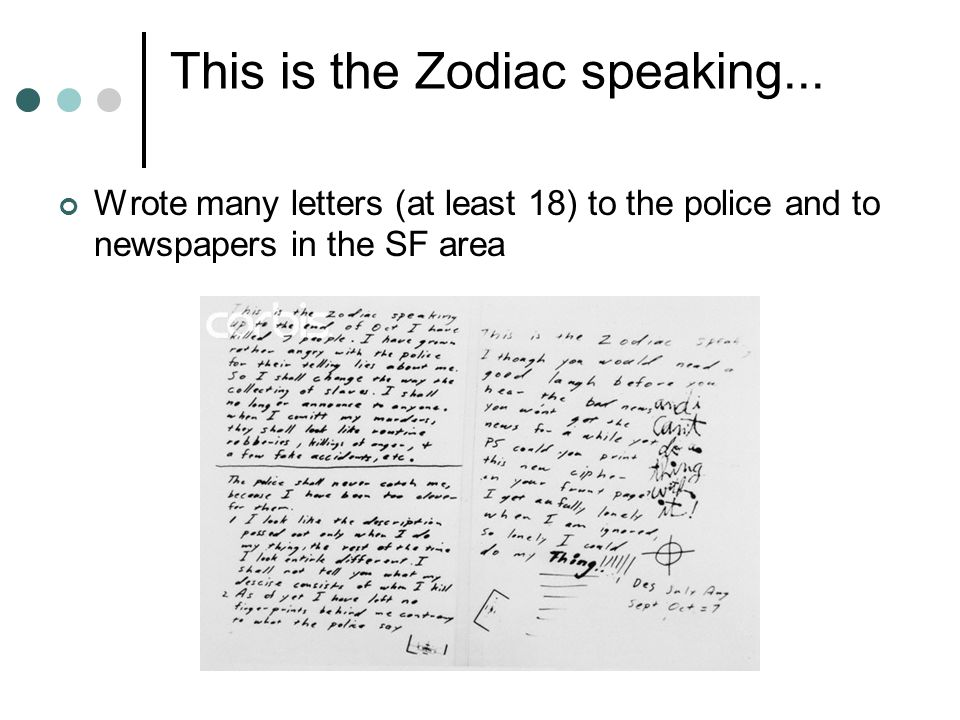 This is the Zodiac speaking...