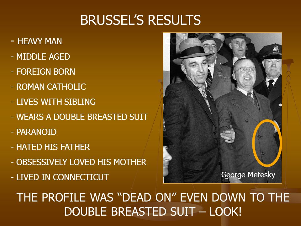 BRUSSEL'S RESULTS - HEAVY MAN. MIDDLE AGED. FOREIGN BORN. ROMAN CATHOLIC. LIVES WITH SIBLING. WEARS A DOUBLE BREASTED SUIT.