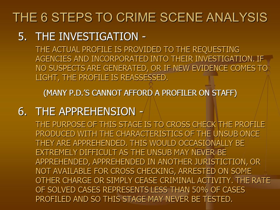 THE 6 STEPS TO CRIME SCENE ANALYSIS