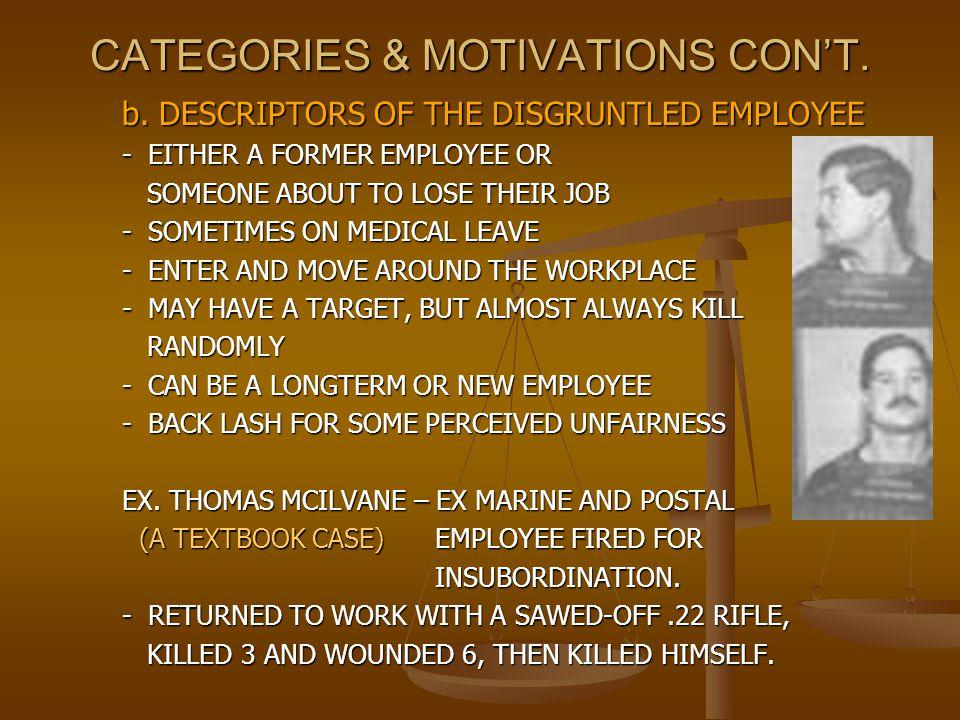CATEGORIES & MOTIVATIONS CON'T.