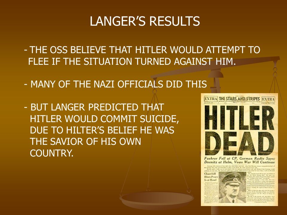 LANGER'S RESULTS FLEE IF THE SITUATION TURNED AGAINST HIM.