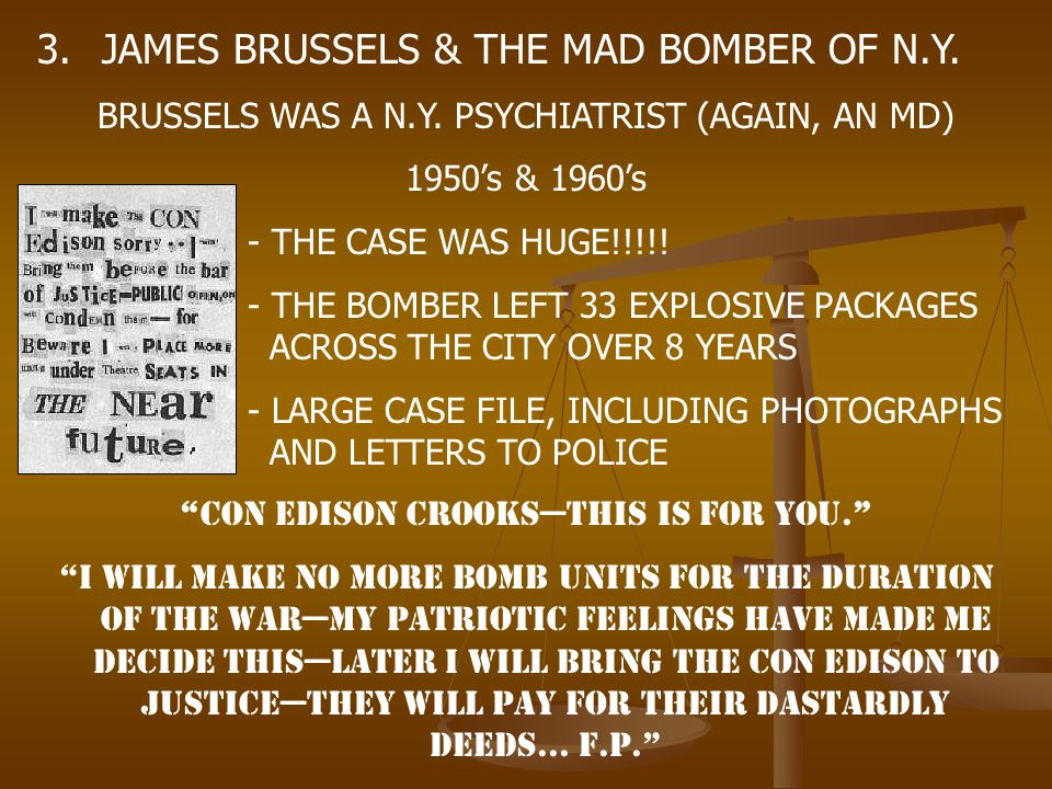 JAMES BRUSSELS & THE MAD BOMBER OF N.Y.