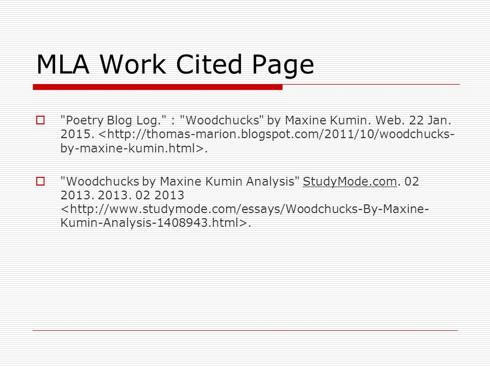 MLA Work Cited Page