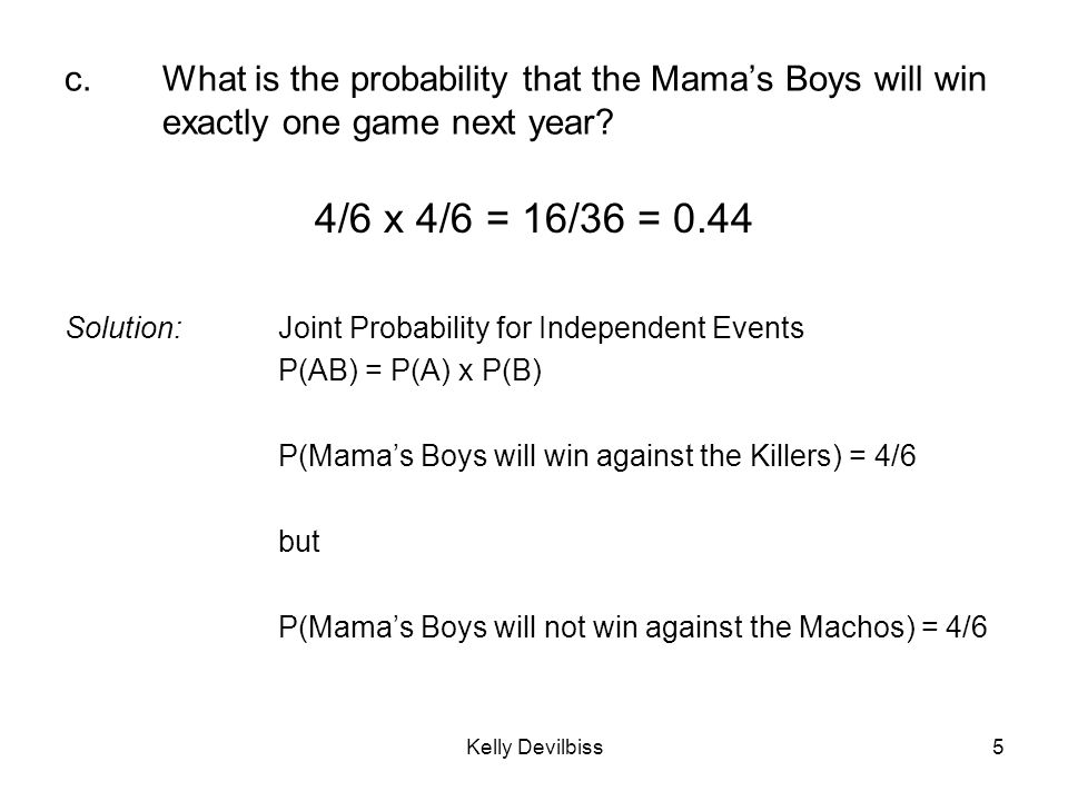 c. What is the probability that the Mama's Boys will win exactly one game next year