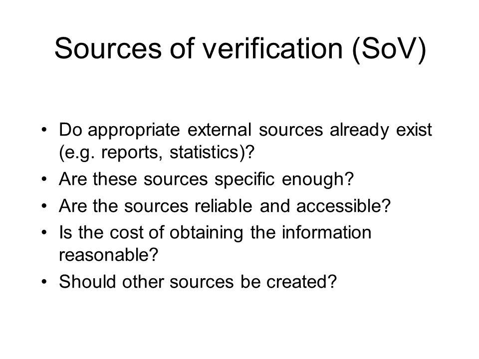 Sources of verification (SoV)