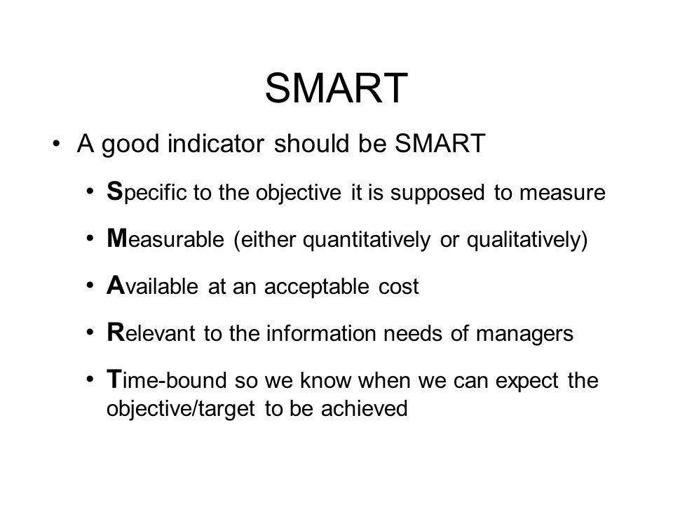 SMART A good indicator should be SMART