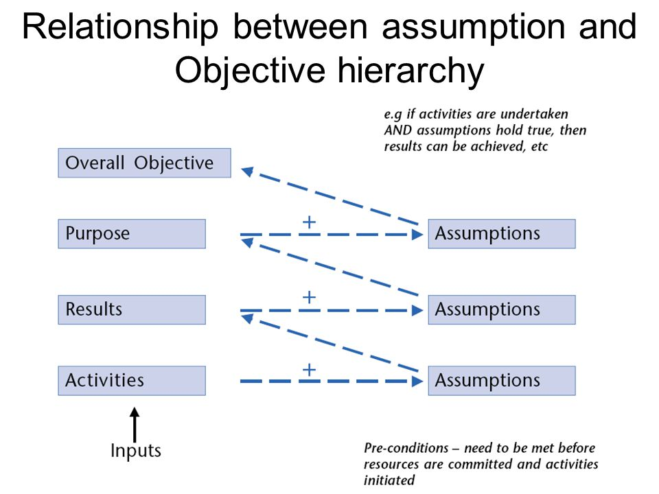 Relationship between assumption and Objective hierarchy