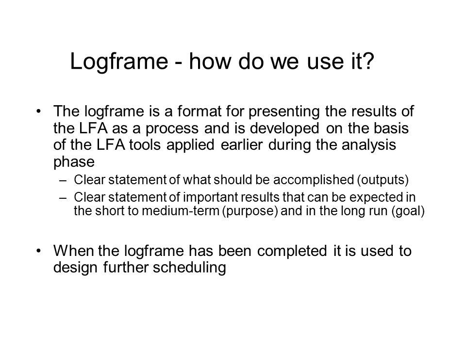 Logframe - how do we use it
