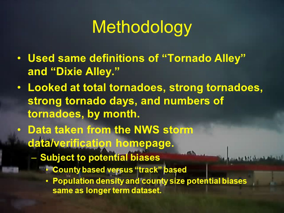 Methodology Used same definitions of Tornado Alley and Dixie Alley.