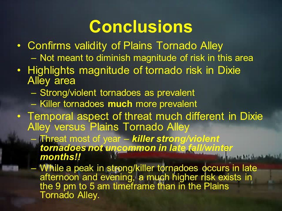 Conclusions Confirms validity of Plains Tornado Alley