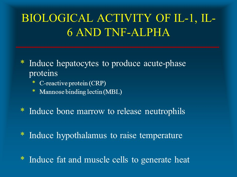 BIOLOGICAL ACTIVITY OF IL-1, IL-6 AND TNF-ALPHA