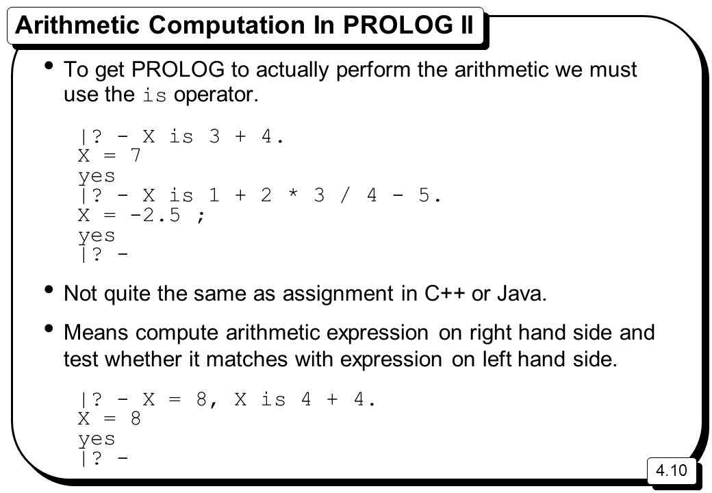 Arithmetic Computation In PROLOG II