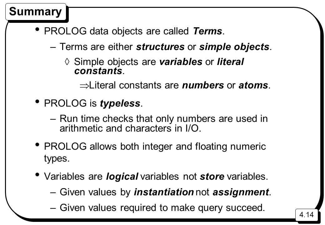 Summary PROLOG data objects are called Terms.