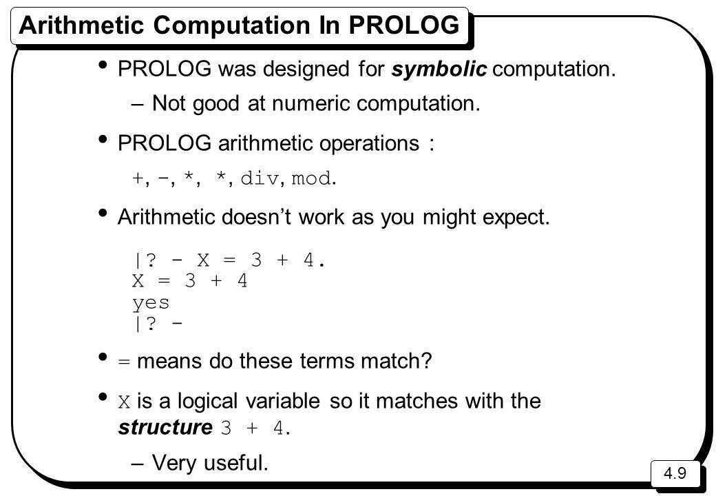 Arithmetic Computation In PROLOG