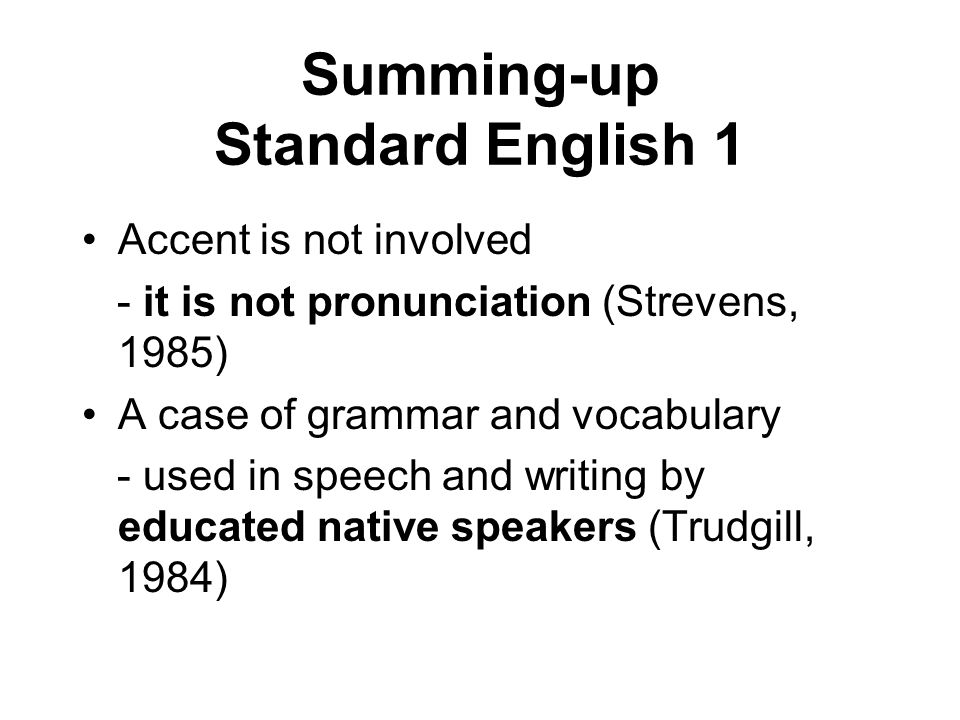 Summing-up Standard English 1