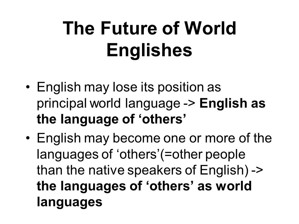 The Future of World Englishes
