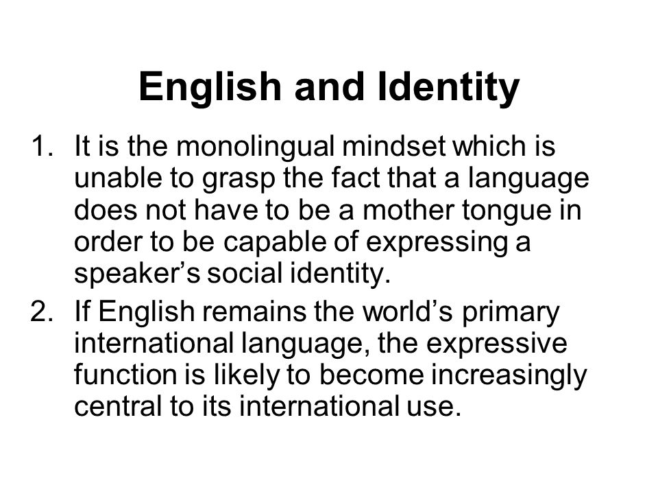 English and Identity