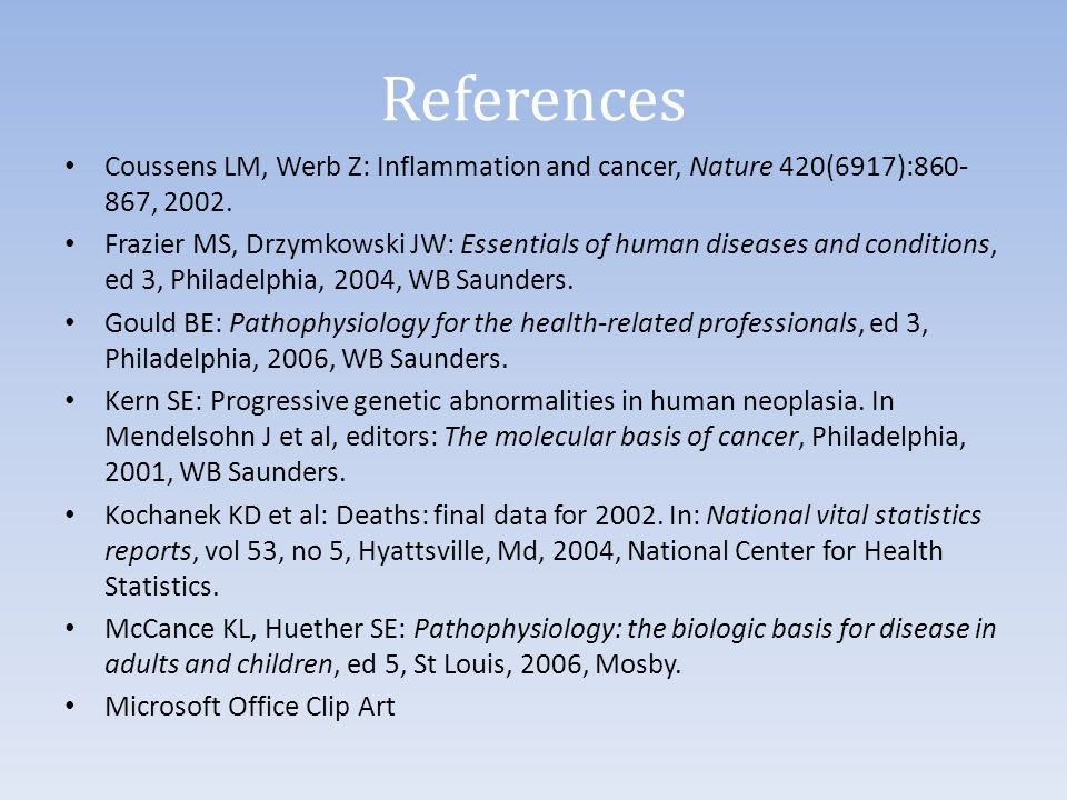 References Coussens LM, Werb Z: Inflammation and cancer, Nature 420(6917):860-867, 2002.